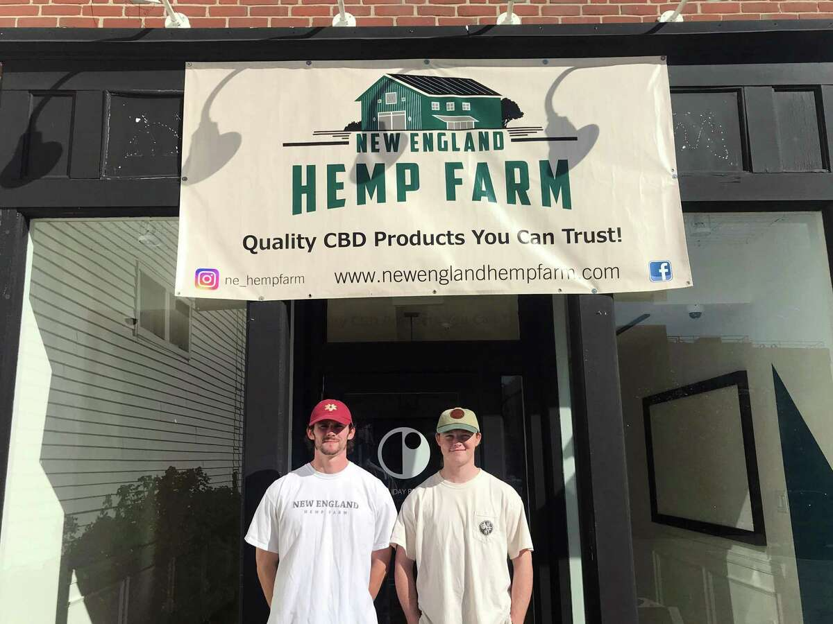 New England Hemp Farm store manager Colin Bannon, left, and John Edmonds. The new store will open on Nov. 1 and provide health and wellness products containing CBD. Taken Oct. 23, 2019 in Westport, Conn.