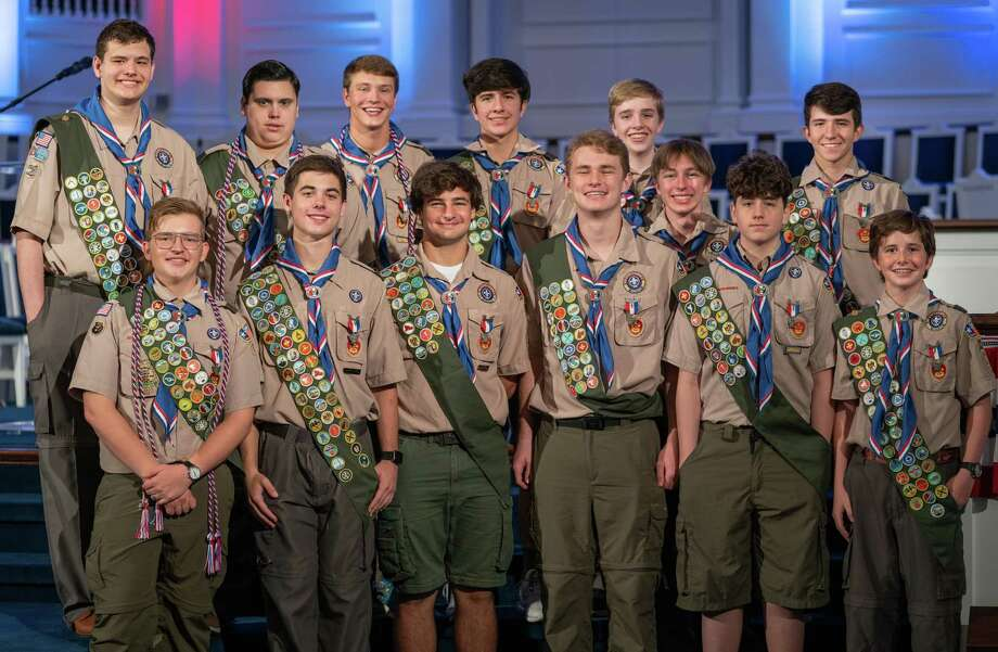 Boy Scout Troop 13, based out of Second Baptist Church, honored 13 new Eagle Scouts during an Eagle Court of Honor. The honorees include Jackson Bishop, Junior, Second Baptist School; Josh Collins, Freshman, Second Baptist School; Elijah Craig, Junior, Second Baptist School; Nathan Gregory, Senior, Memorial High School; Tristan Houy, Senior, The Awty International School; Samuel Ireland, Freshman, Second Baptist School; Thomas Johannesen, Senior, Memorial High School; Jaden Prothro, Junior, Second Baptist School; Leighton Reddy, Sophomore, Second Baptist School; Mitchell Reddy, Senior, Second Baptist School; Michael Towne, Senior, Second Baptist School; David Trippon, Freshman, University of Houston Clear Lake; and Michael Yarbrough, Freshman, Mayde Creek High School. Photo: Courtesy Photo
