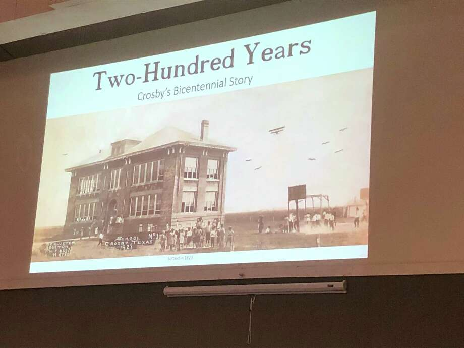 Jody Fuchs presented a slideshow of some of the photos from his pictorial history book at the Crosby Historical Society's meeting on Oct. 19 at Crosby Brethren Church Photo: Elliott Lapin / Staff Photo