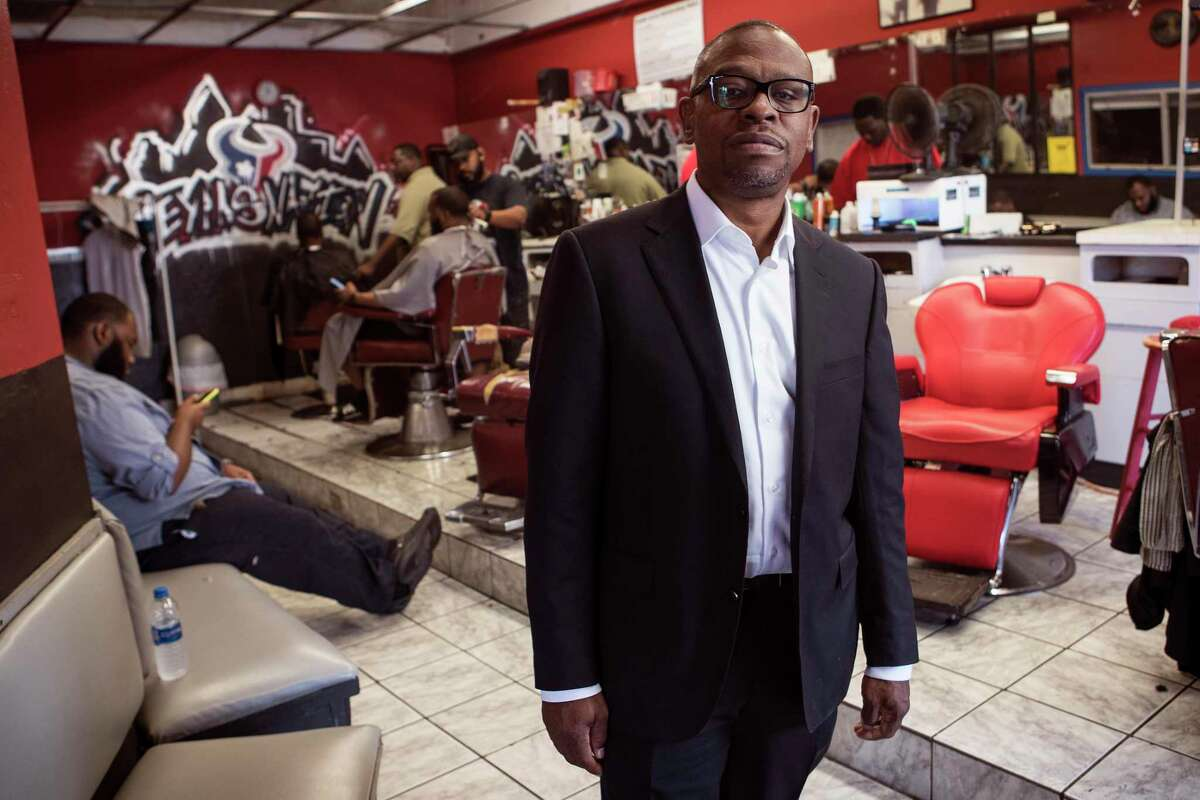 Brad Jordan, who has for 30 years been best known as Scarface, lyricist and rapper in Houston's legendary Geto Boys, talks about his upcoming campaign for city council at South Acres Barber Shop on Thursday, Sept. 5, 2019, in Houston. Jordan plans to run for a vacant city council seat this fall, with a plan to try to turn around things in the neighborhood where he grew up.