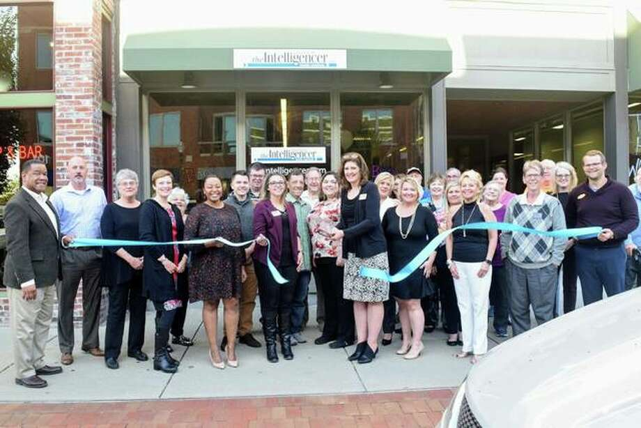 The Edwardsville Intelligencer celebrated the opening of its new office at 116 N. Main Street with a ribbon-cutting ceremony and open house on Wednesday. Photo: Edwardsville|Glen Carbon Chamber Of Commerce