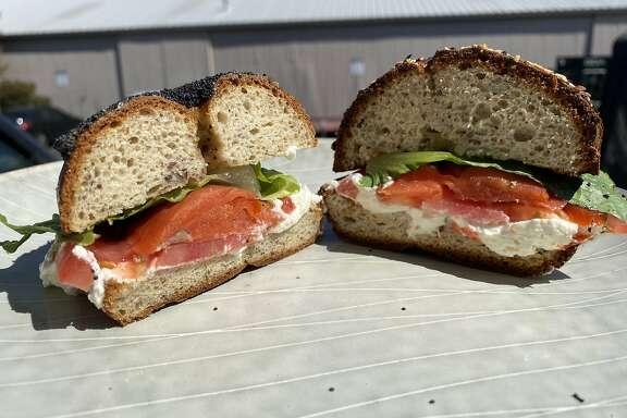 A gluten-free bagel sandwich from Misfits Bakehouse in Palo Alto.