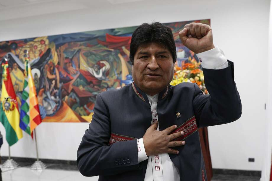 Evo Morales, Bolivia's first indigenous president, declared himself the winner of the nation's presidential election, which would give him a fourth straight term in office. Photo: Juan Karita / Associated Press