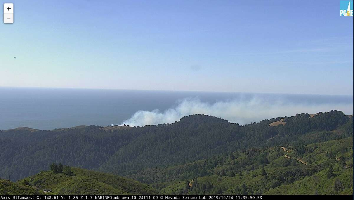 A fire camera shows a small fire in the Marin Headlands near Stinson Beach, Calif., on Thursday, Oct. 24, 2019.