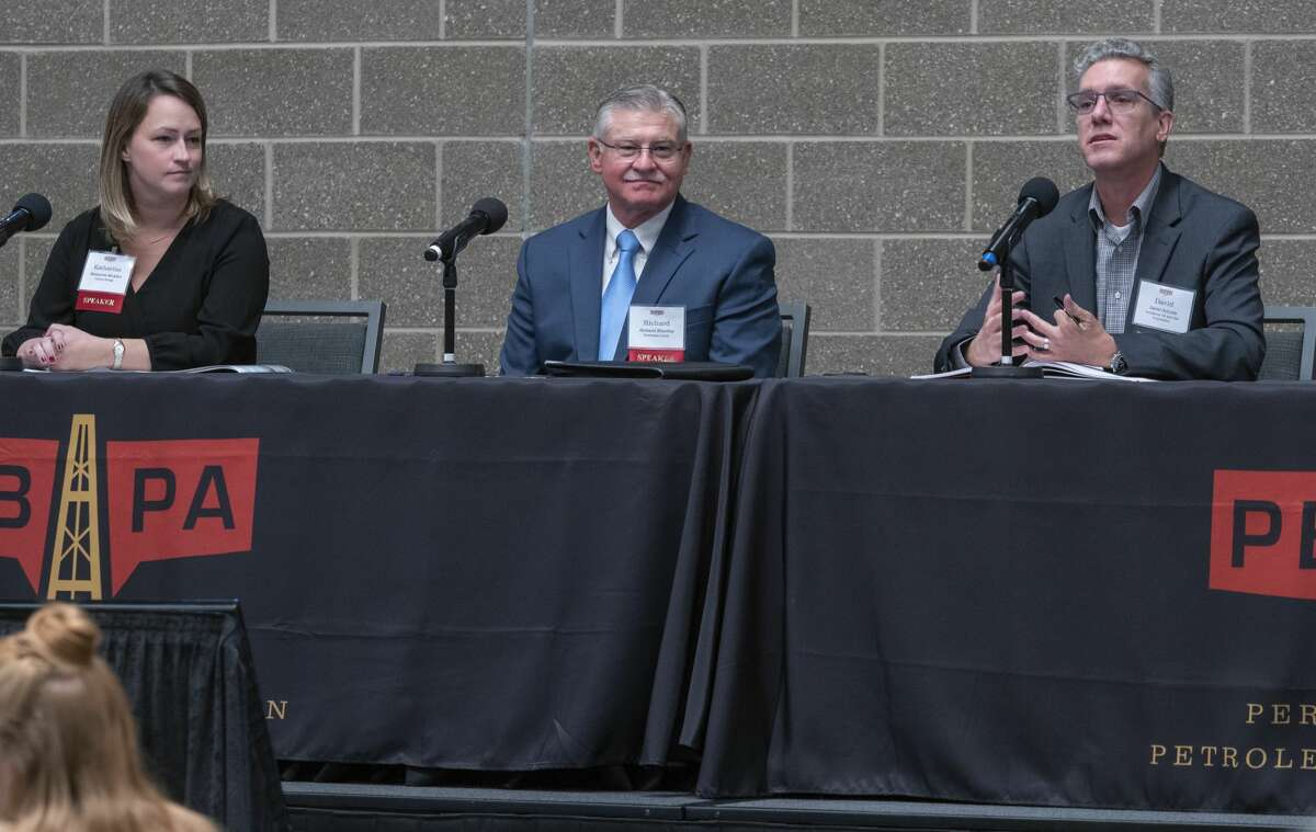 Katherine McAden, with Parsley Energy, Richard Brantley, with University Lands and Dave Schulte, with Occidental Oil and Gas Corp, speak 10/24/19 during the Permian Basin Petroleum Association annual meeting and forum on sustainability. Tim Fischer/Reporter-Telegram