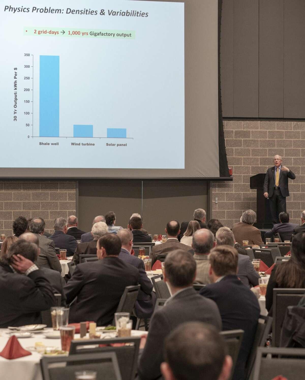 Mark Mills, senior fellow at the Manhattan Institute, speaks 10/24/19 during the Permian Basin Petroleum Association annual meeting luncheon. Tim Fischer/Reporter-Telegram