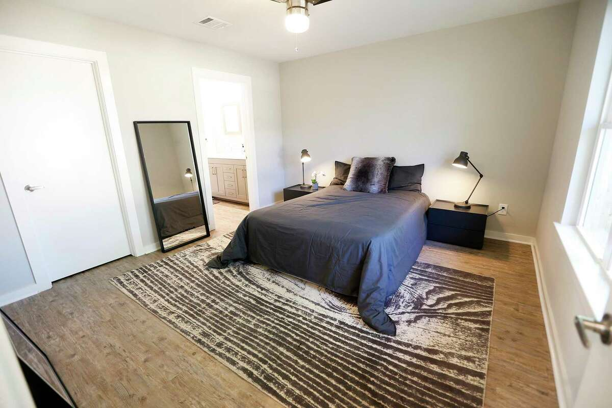 The master bedroom in a product by Avenue CDC, an affordable housing nonprofit, on Tuesday, Oct. 22, 2019 in Houston. The modular home was designed and built by Russell Hruska of Intexure Architects. Benefits of this kind of home are a shorter construction time, strong foundation, greater construction control, better security and quicker delivery.