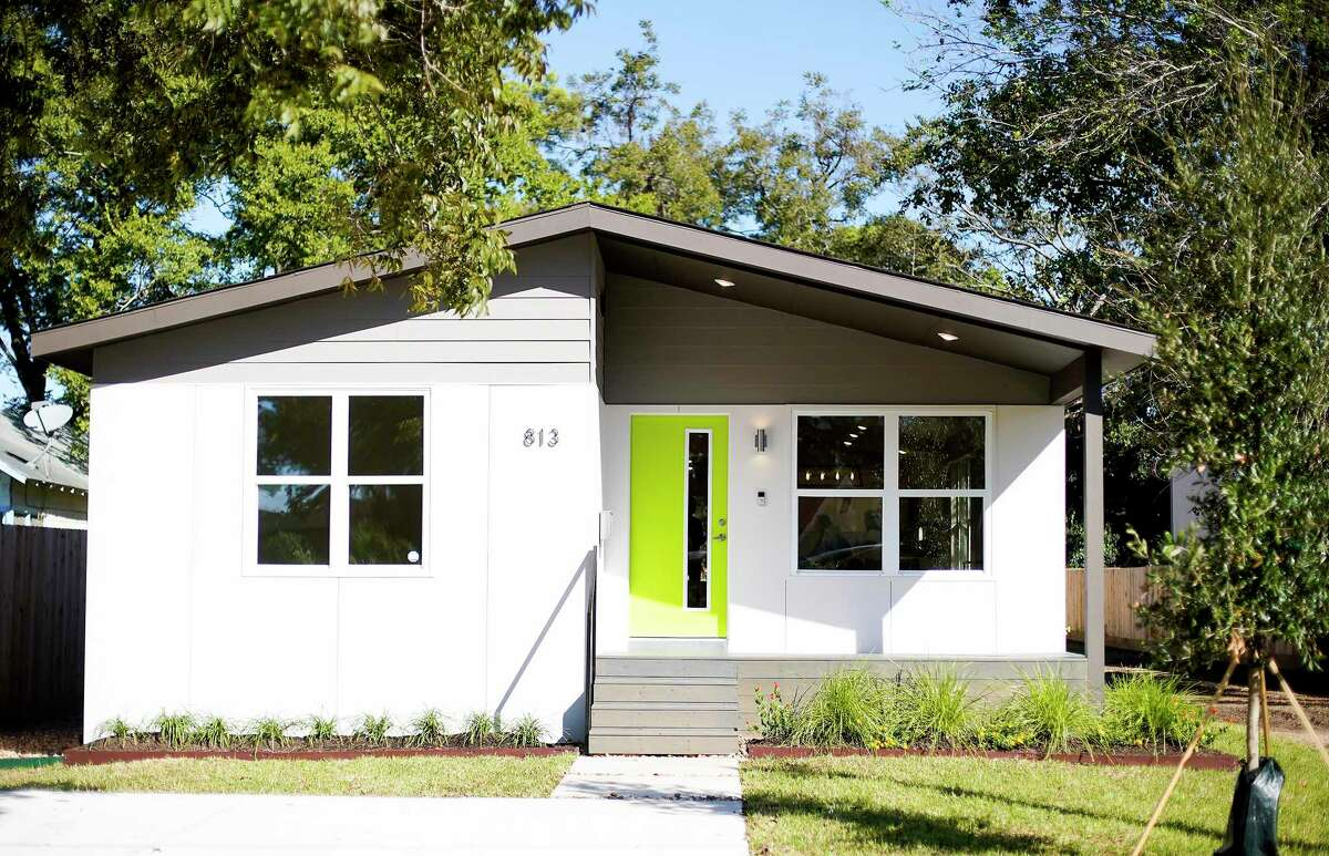 The exterior of a new finished product by Avenue CDC, an affordable housing nonprofit, on Tuesday, Oct. 22, 2019 in Houston. The modular home was designed and built by Russell Hruska of Intexure Architects. Benefits of this kind of home are a shorter construction time, strong foundation, greater construction control, better security and quicker delivery.