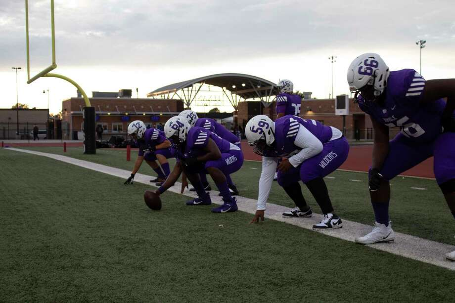 The Humble offensive line has cleared paths for the running and passing game this season. The Wildcats are looking to make the playoffs for the first time since 2010. Photo: Marcus Gutierrez Staff Photo