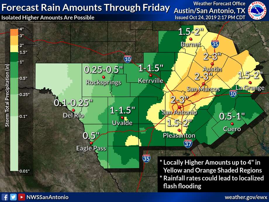 An updated NWS forecast indicates rainfall amount totals and the threat of flooding has increased along the Interstate 35 corridor. San Antonio could see up to 3 inches of rain from the storms, up from the 1.5 to 2 inches that were forecasted Wednesday. Photo: National Weather Service