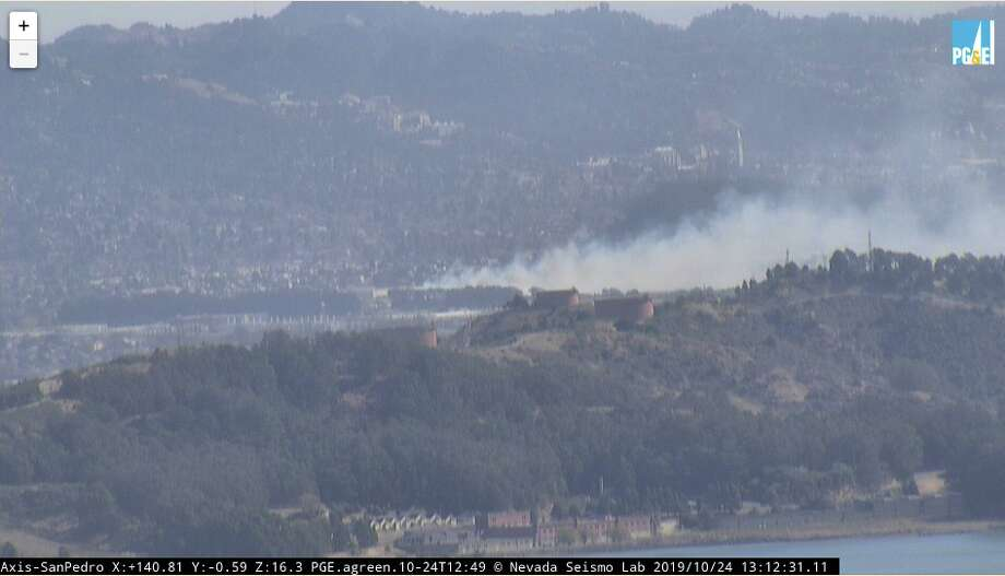 Smoke from a fire in Richmond is seen Thursday afternoon. Photo: PG&E