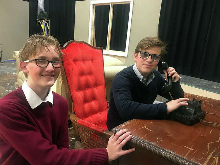 "Metro-East Lutheran High School students Andrew Bagby, left, and Joshua Fields star in Agatha Christie's classic murder mystery, ""The Mousetrap."" Photo: Courtesy Of Metro-East Lutheran High School"