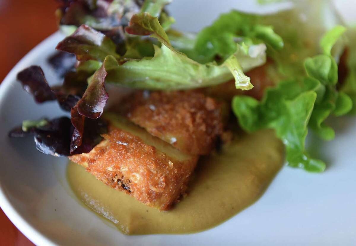 Parsnip Schnitzel, vegetable gravy, nutritional yeast at The Lantern Bar & Grill on Tuesday, Oct. 15, 2019 in Pittsfield, Mass. (Lori Van Buren/Times Union)