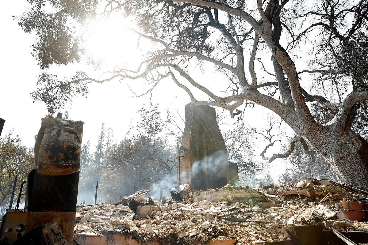 A house at 1045 Alexander Mountain Road that burned down during Kincaid Fire in Geyserville, Calif., on Thursday, October 24, 2019.
