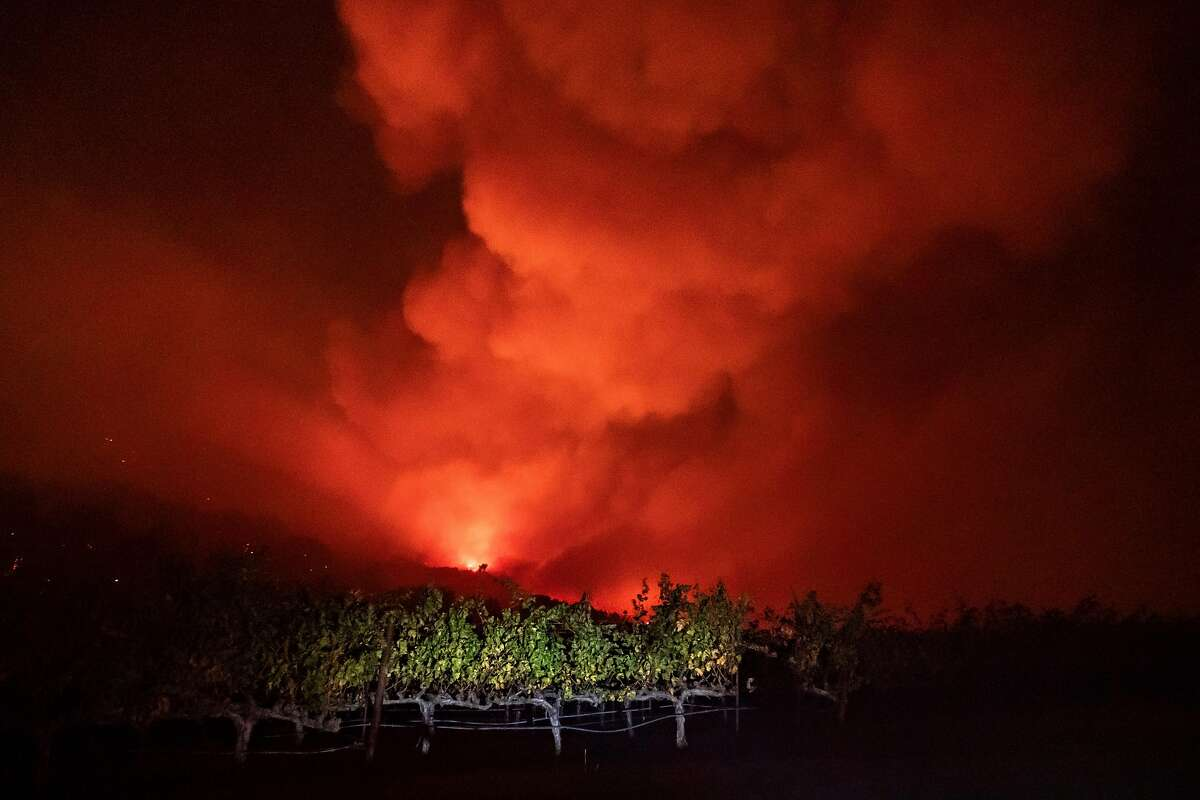 A vineyard located on Geyser Road with the Kincade fire approaching on Thursday, Oct. 24, 2019, in Geyserville, Calif.