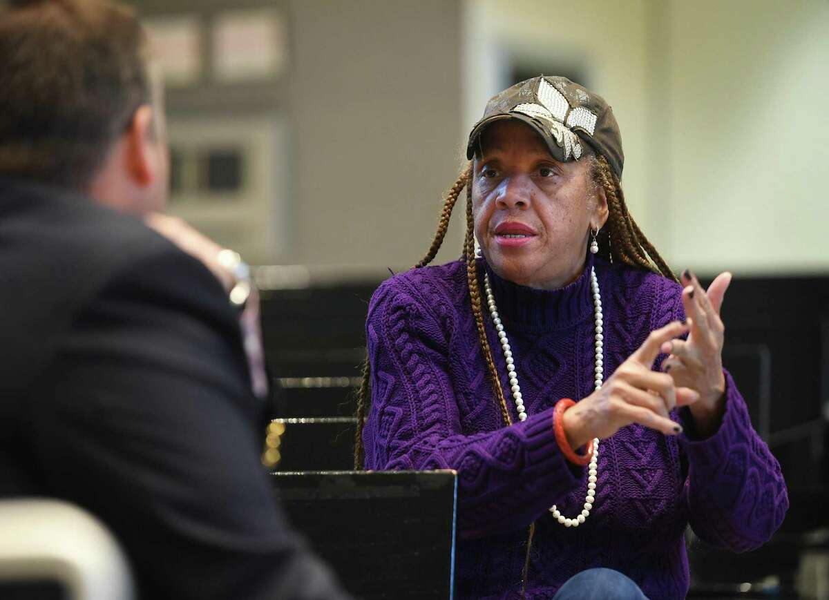 Bridgeport City Council candidate M. Evette Brantley questions Director of Elections for the State of Connecticut Ted Bromley in City Council at City Hall in Bridgeport, Conn. on Thursday, October 24, 2019. Brantley was curious why many of the absentee ballots she had distributed to voters had been rejected.