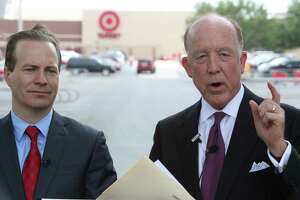 Jared Woodfill (left) and Steven F. Hotze hold a press conference at the Target in the Galleria, 4323 San Felipe St, Tuesday, April 26, 2016, in Houston. They are calling for a boycott of Target, for their attitude on bathrooms. ( Steve Gonzales / Houston Chronicle )