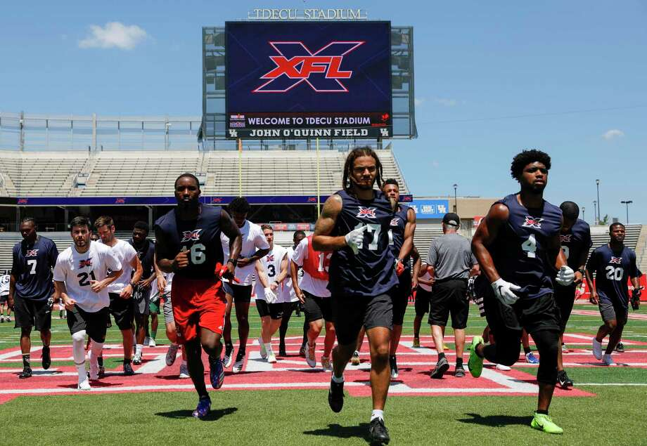 Players participate in drills during the XFL Summer Showcase at TDECU Stadium in Houston, TX on Saturday, June 8, 2019. Photo: Tim Warner / Contributor / ©Houston Chronicle