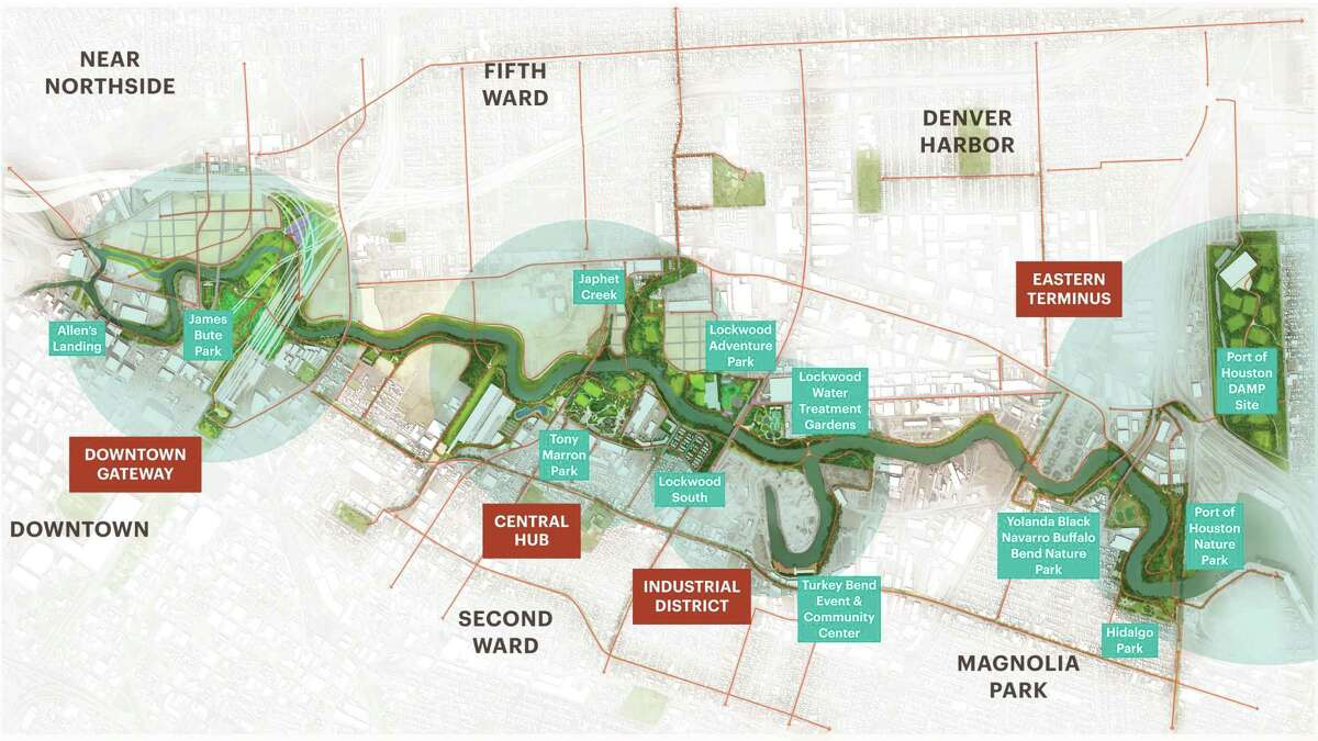 A map of developments outlined in the Buffalo Bayou East master plan, a 20-year vision that foresees four zones for public parks and community event spaces, some repurposing industrial sites, between downtown Houston and the Houston Ship Channel's Turning Basin.