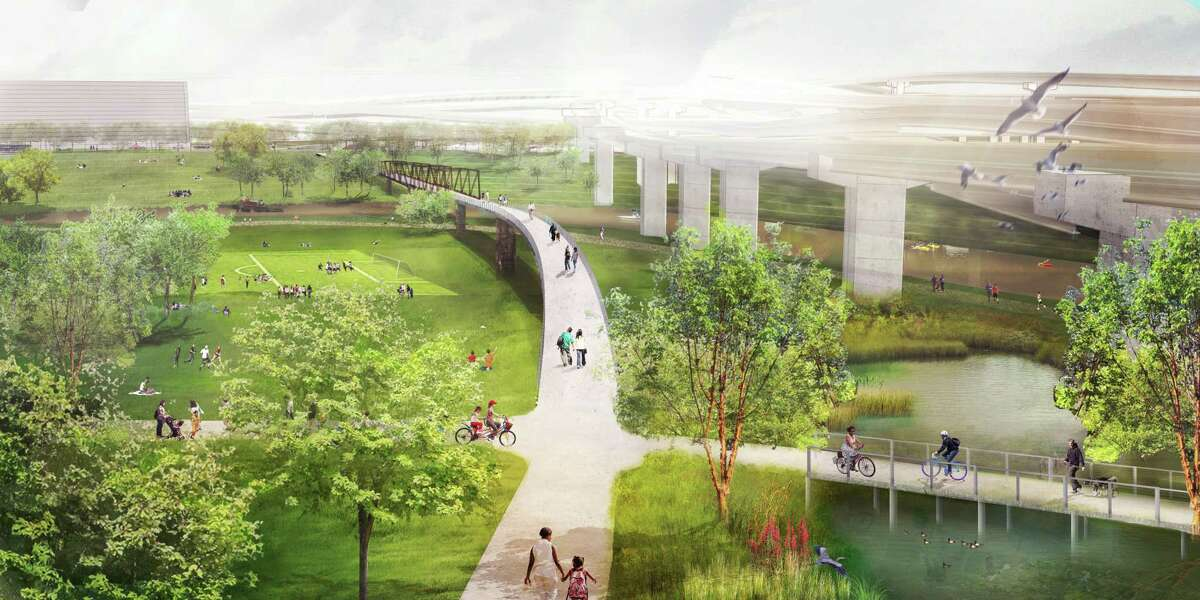 One of the proposed parks would reclaim land under what is now I69 to create a downtown gateway, flood retention and a bridge between the long-isolated sides of Buffalo Bayou.