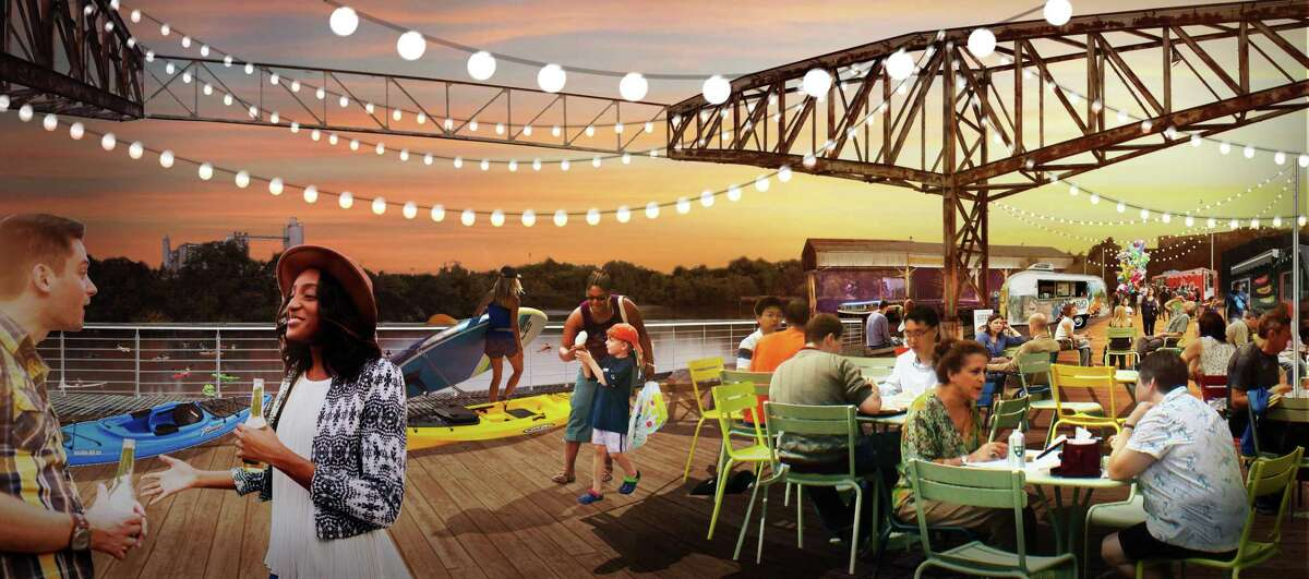 A rendering of the Turkey Bend event area at a reclaimed barge warehouse facility and dock now owned by the Buffalo Bayou Partnership.
