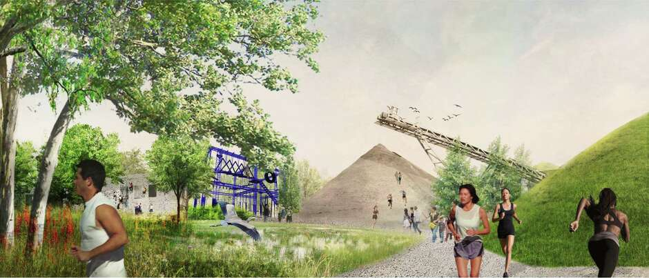 An 'adventure park' for extreme sports is one of the amenities proposed within the Industrial District of the Buffalo Bayou East master plan.