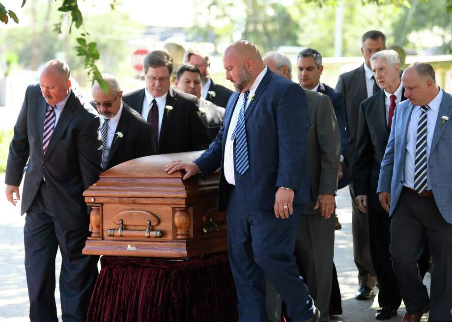 Pallbearers carry the casket of Larry Gist after his funeral at St Anthony Cathedral Basilica on Thursday. The former Jefferson County Criminal District Judge died Saturday morning.    Photo taken Thursday, 10/24/19 Photo: Guiseppe Barranco/The Enterprise, Photo Editor / Guiseppe Barranco ©