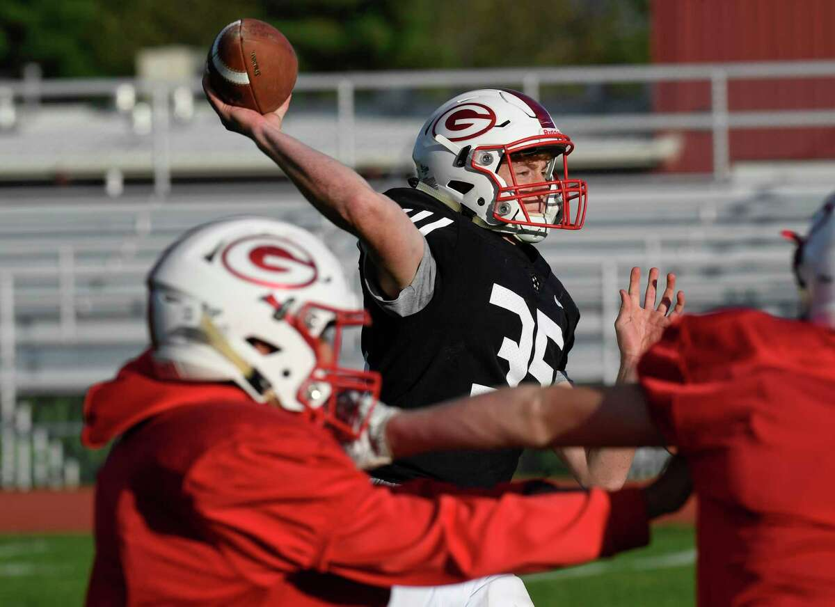 Guilderland varsity quarterback Michael Gitto runs offensive plays with teammates during football practice Wednesday, Oct. 23, 2019, in Guilderland N.Y. Gitto who broke his leg missed the first five games of the season. (Hans Pennink / Special to the Times Union)
