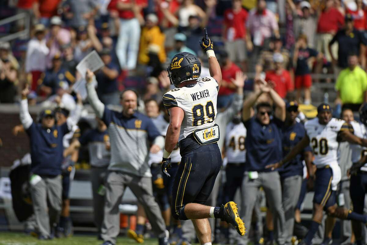 California linebacker Evan Weaver (89) celebrates after a tackle on the final play of an NCAA college football game against Mississippi in Oxford, Miss., Saturday, Sept. 21, 2019. California won 28-20. California used a goal-line stand as time ran out to beat Mississippi, the Bears' first road win over an SEC school since 1977 and the Pac-12's first since 2010. Linebacker Evan Weaver swooped in from the outside and stopped Mississippi quarterback John Rhys Plumlee on a sneak as the clock hit zeroes for the last and most important of his career-high 22 tackles.(AP Photo/Thomas Graning)