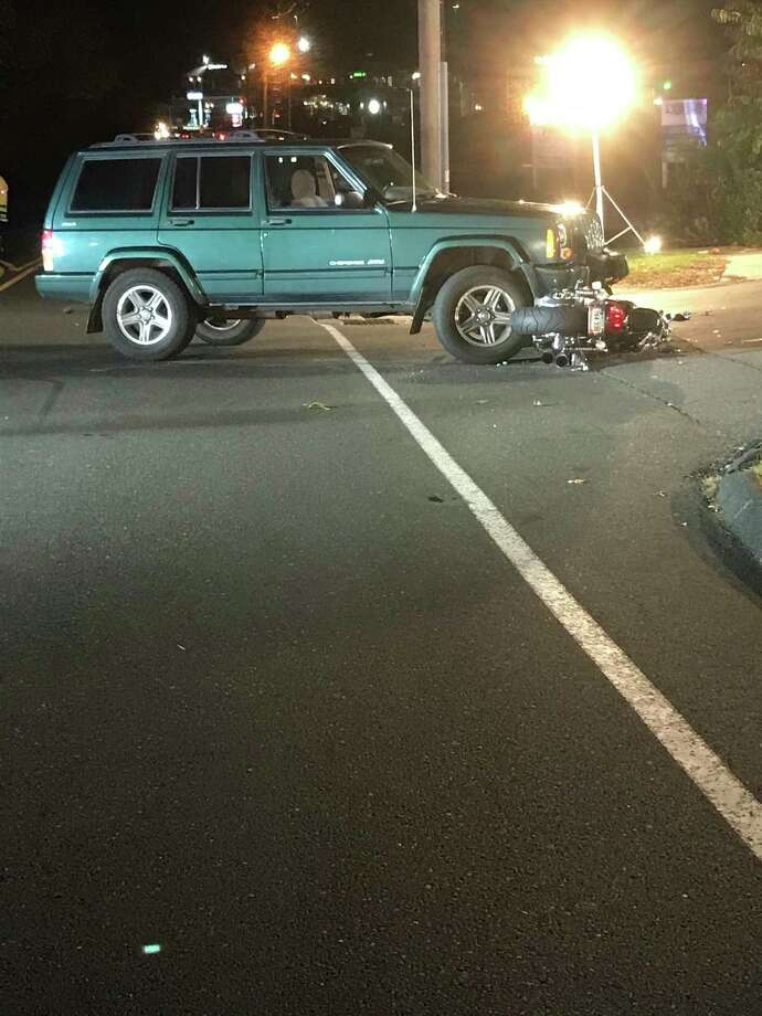 Police have shut down a stretch of Route 111 in Monroe, Conn., to investigate a serious crash between a Jeep and a motorcycle on Thursday, Oct. 24, 2018. Photo: Contributed Photo / Monroe Police Department