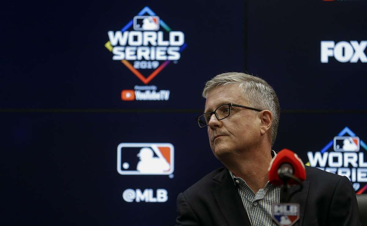 Houston Astros general manager Jeff Luhnow answers questions from reporters regarding the firing of assistant general manager Brandon Taubman during a press conference at Nationals Park on Thursday, Oct. 24, 2019, in Washington D.C..