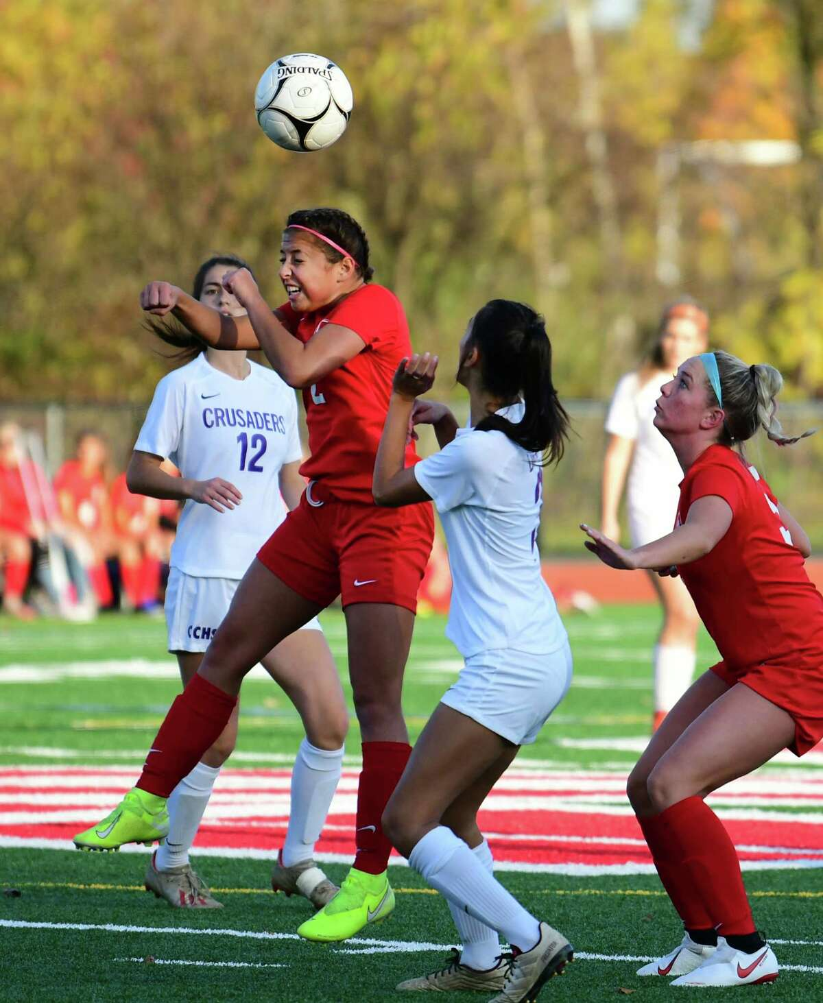Mechanicville's Nevaeh D'Alioa, #2. heads the ball against Catholic Central High School during the Class B girl's soccer playoff game on Thursday, Oct. 24, 2019 in Mechanicville, N.Y. (Lori Van Buren/Times Union)