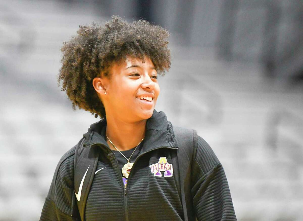 University at Albany's Kyara Frames during Basketball media day at the SEFCU Arena Thursday, Oct. 24, 2019, in Albany, N.Y. (Hans Pennink / Special to the Times Union)