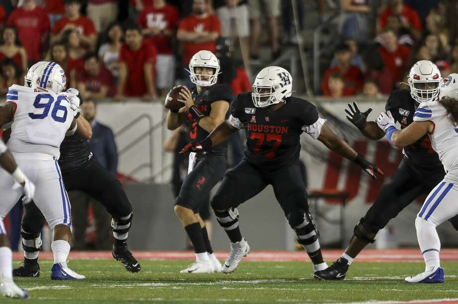PHOTOS: UH vs. SMU  Houston Cougars quarterback Clayton Tune (3) drops back before throwing for a first down during the first quarter of an NCAA football game at TDECU Stadium on Thursday, Oct. 24, 2019, in Houston. >>>Look back at photos from the Cougars' game last week ...  Photo: Jon Shapley/Staff Photographer