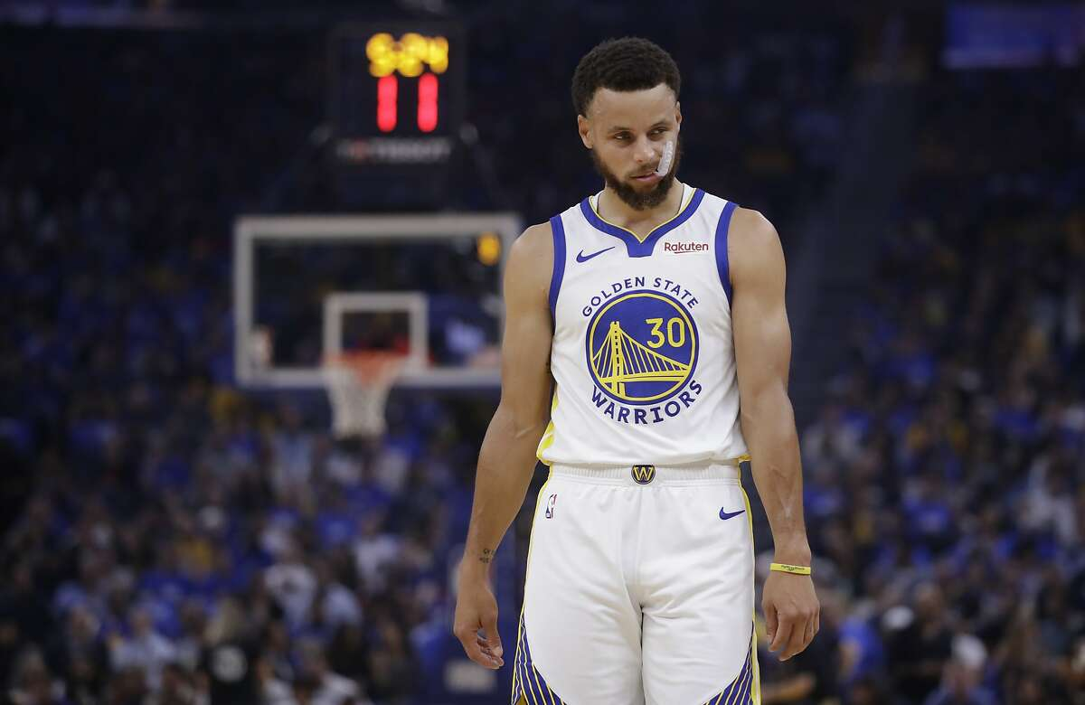 Golden State Warriors' Stephen Curry walks on the court during the first half of the team's NBA basketball game against the Los Angeles Clippers on Thursday, Oct. 24, 2019, in San Francisco. (AP Photo/Ben Margot)