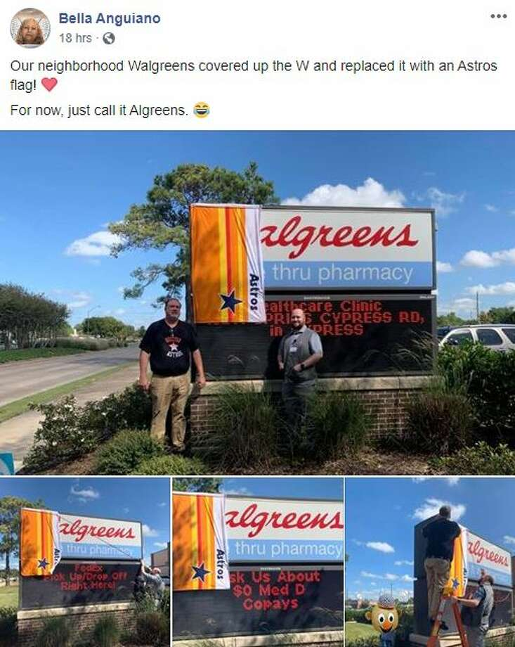 """This Cypress Walgreen's store owner had an ingenious way to show hometown spirit, by covering the """"W"""" in Walgreens with a bright orange Astros World Series flag. Photo: Bella Anguiano"""