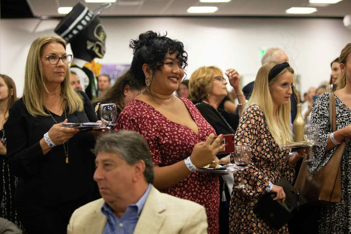 Guests react to the announcement of Alison Cook's Top 100 restaurants list at the Houston Chronicle 2019 Culinary Stars event.