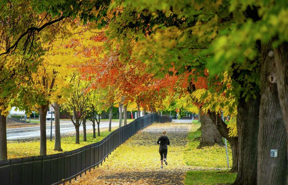 A woman enjoys the fall color and mild temperatures while jogging the perimeter of a cemetery. Photo: Associated Press / GREG LEHMAN