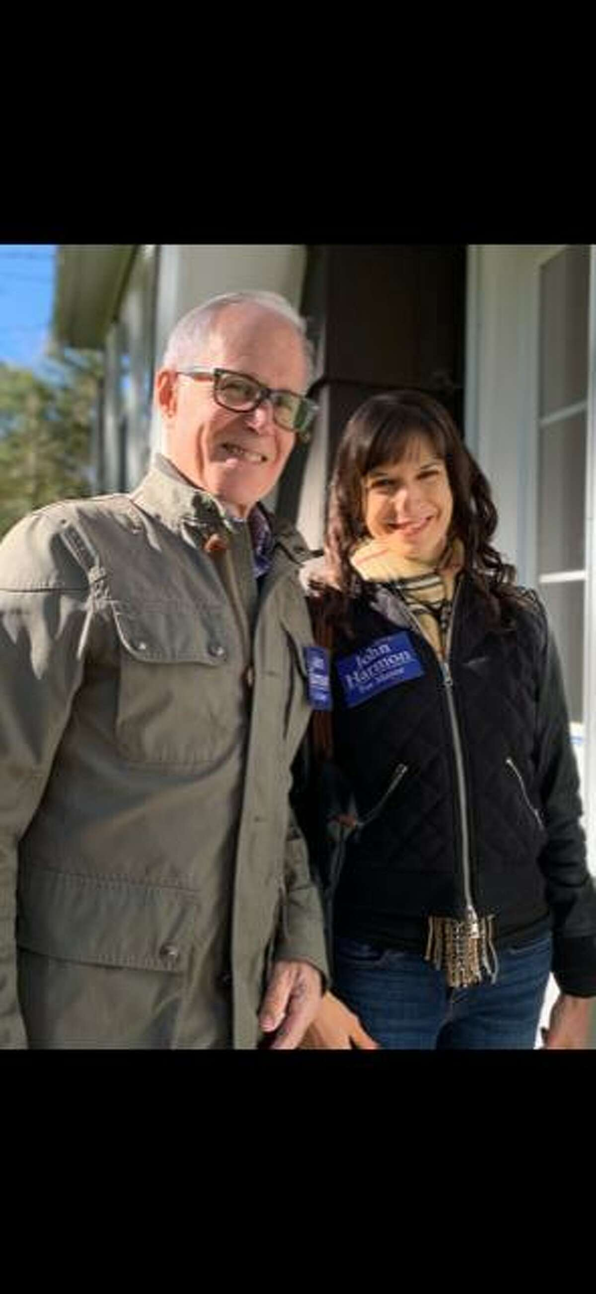 Democratic mayor candidate John Harmon and his daughter, Gail, were door knocking and placing yard signs this past weekend.