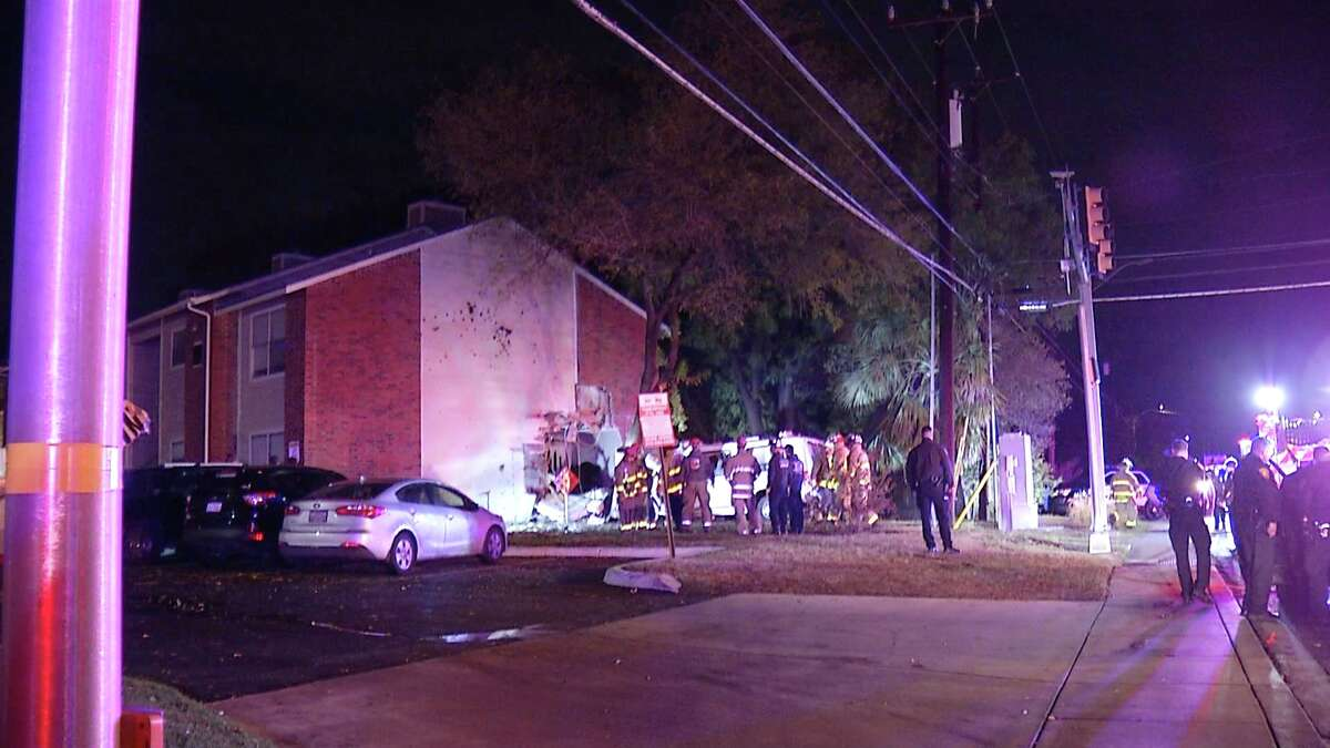 Six people were sent to the hospital after a van crashed into an apartment.