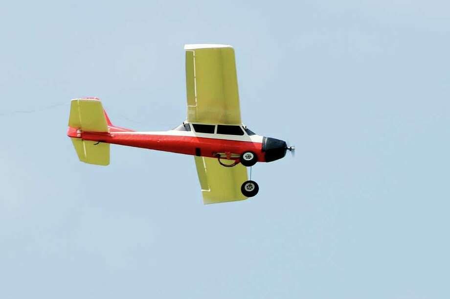 Detail shot of one of the radio-controlled model airplanes flown by Sherrill McGill of Scotia at an event sponsored by Electric Powered Modelers at Maalwyck Park in Glenville on Sunday, Aug. 8, 2010.      (Luanne M. Ferris / Times Union) Photo: Luanne M. Ferris