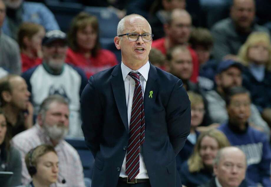 FILE - In this March 3, 2019, file photo, Connecticut head coach Dan Hurley shouts from the bench during the second half of an NCAA college basketball game against South Florida, in Storrs, Conn. Hurley expects UConn to be better this season, the second in the coach's effort to rebuild the storied program back to national prominence. That doesn't mean that Connecticut, which went 16-17 a year ago, will compete for a fifth national championship, but it should mean the Huskies will win more games than they lose. That's something UConn has not done since 2015-16. Photo: Steven Senne, AP / Copyright 2019 The Associated Press. All rights reserved