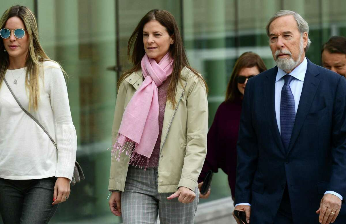 Michelle Troconis, charged with two counts of tampering with evidence and hindering prosecution in the disappearance of Jennifer Dulos, appears for a pretrial hearing with her attorney Andrew Bowman Friday , October 25, 2019, at the Stamford Superior Court in Stamford, Conn.