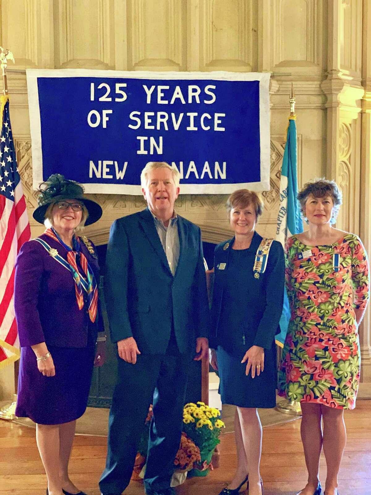 Connecticut State Regent, Christy Anderson Hendrie; New Canaan First Selectman, Kevin Moynihan; Hannah Benedict Carter Chapter Regent, Kathleen Hill Tesluk and Chapter Vice Regent, Rose-Scott Rothbart.