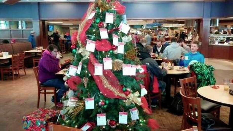 Featured is an Angel Tree from a previous year, proudly posed at one of Ferris State University's food courts. To learn how to sign up for the program, visit sabigrapids.org. (Courtesy photo)