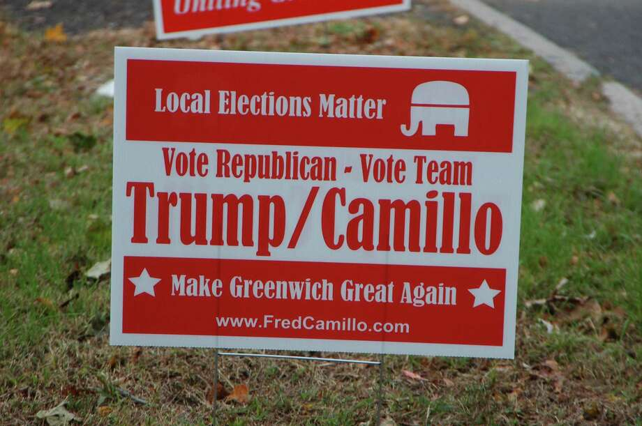 Signs linking Republican first selectman candidate Fred Camillo to President Donald Trump around Greenwich during the 2019 election season. Camillo and other Republicans condemned the signs, saying they are not from the campaign even though they are made to look like they are. Photo: Ken Borsuk / Hearst Connecticut Media