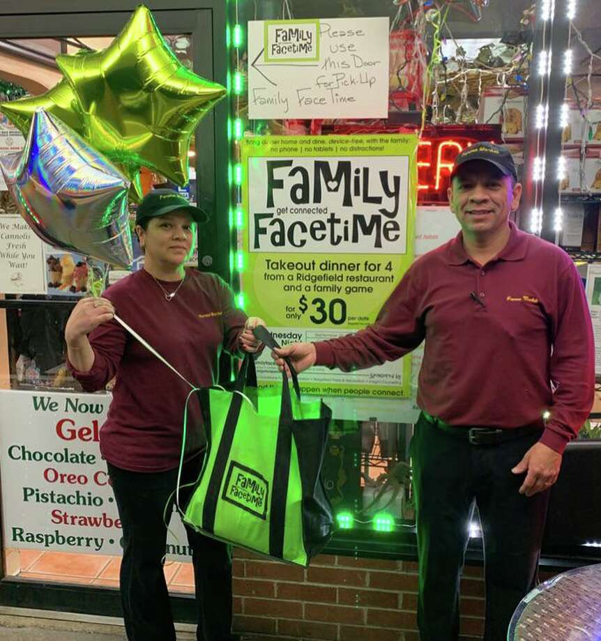 Parma Deli fed 85 Ridgefield families earlier this week as part of Ridgefield's Family Facetime program. Photo: Contributed Photo
