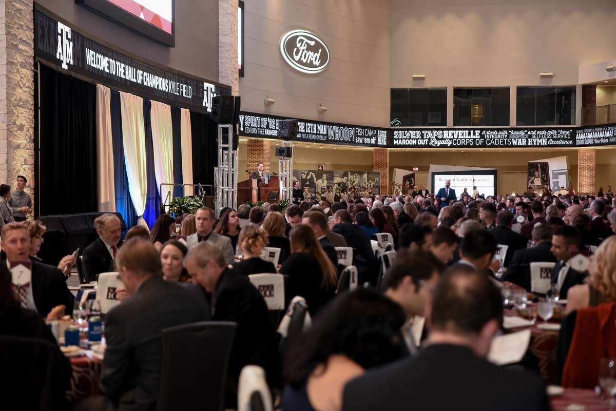 Hundreds of guests attend the annual Aggie 100 awards ceremony hosted by the McFerrin Center for Entrepreneurship, Mays Business School, at Texas A&M University each year.