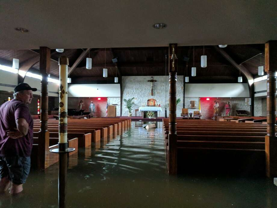 St. Philip the Apostle Catholic Church was flooded with four feet of water from Hurricane Harvey in 2017. Photo: Courtesy / Courtesy
