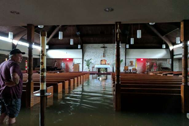 St. Philip the Apostle Catholic Church was flooded with four feet of water from Hurricane Harvey in 2017.